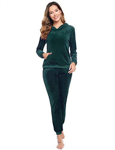 Akalnny Womens Velour Trainingspak 2 Stuk Set Lange Mouw Sweatsuit Dames Top en Jogger Casual Loungewear Joggers