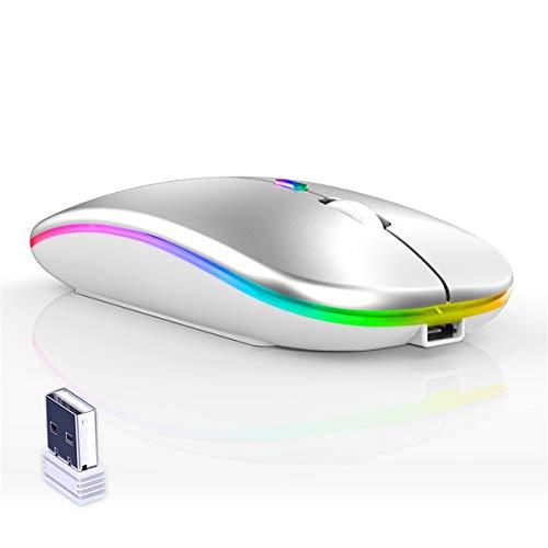 CAICOME Mouse senza fili, Ultra Magro LED Colorato Ricaricabile Mouse senza fili del Computer Portatile del Computer Portatile del PC 2.4G con Ricevitore USB per Laptop, PC, Computer, Mac (Argento)
