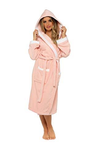 CityComfort Peignoir Femme, Robe De Chambre À Capuche en Tissu Éponge Absorbant 100% Coton, Peignoir De Bain Doux Taille S-XL, Idée Cadeau Anniversaire Femmes (Rose/Blanc, S)