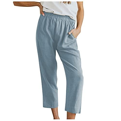 feftops Pantalones para Mujer AlgodóN Casuales Vendaje EláStico Color SóLido Pantalones Sueltos Cómodo Anchos 2021 Verano Pantalones Rectos con Bolsillo