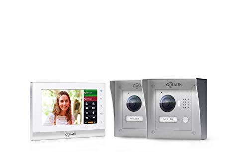 Goliath IP 2-draads video-intercomsysteem, 1,3 megapixel camera, 7 inch binnenstation, smartphone mobiele telefoon, intercominstallatie, video-intercominstallatie, 2 x opbouw, buitenstation, eengezinswoning set