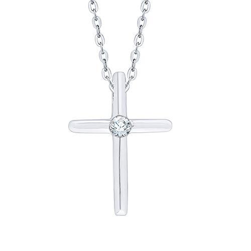 KATARINA Collar Pendiente de Diamante Solitario Cruz En Sterling Silver (1/10 cttw, G-H, I2-I3)