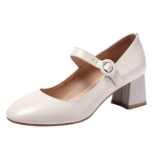 Zapatos clásicos Mary Jane con punta puntiaguda, antideslizantes, cómodos, formales, para mujer, color Beige, talla 39 EU