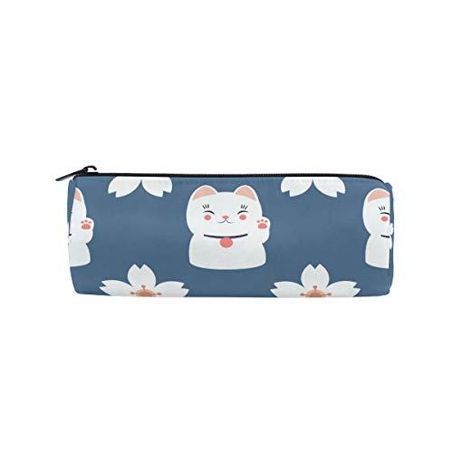 Bonie - Estuche japonés con diseño de gatos de la suerte y margaritas