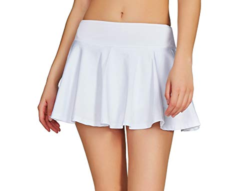 Cityoung Women Running Golf Skort Plus Size Pocket Girl Athletic Tennis Skirt Shorts Underneath m White
