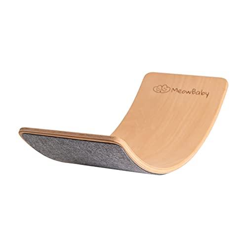 MEOWBABY Balance Board Curvo in Legno 80x30 cm con Feltro Equilibrio Tavoletta D'equilibrio Curva per Bambini tavola...