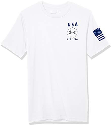 Under Armour Herren T-Shirt Freedom USA Emblem Kurzarm, Herren, kurzärmelig, Freedom Usa Emblem Short Sleeve T-Shirt, Weiß (100)/Royal, Small
