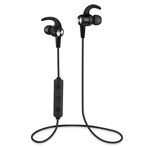 Zinq Technologies Sound Trix 1 Bluetooth 5.0 Wireless Earphones, Stunning Sound with Powerful Bass, up to 5 Hours of Playback, Ergonomic, Lightweight Wireless in-Ear Neckband, Built in-mic (Black