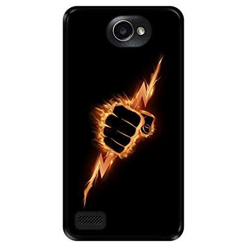 Hapdey Funda Negra para [ LG X150 Bello 2 ] diseño [ Puño ardiente apretando un Rayo ] Carcasa Silicona Flexible TPU
