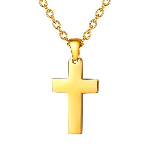 PROSTEEL Chapado en Oro 18 K Collar Hombre Colgante de Cruz Sencilla de Acero Inoxidable con Cadena Trigo 60cm Colgante Religioso Regalo Navidad Cumpleaños