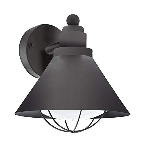 EGLO Außen-Wandlampe Barrosela, 1 flammige Außenleuchte, Wandleuchte aus Stahl verzinkt, Farbe: Schwarz, Fassung: E27, IP44