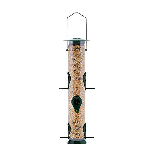 Gray Bunny Classic Tube Feeder with 6 Feeding Ports Premium Hard Plastic Outdoor Birdfeeder with Steel Hanger Weatherproof and Water Resistant