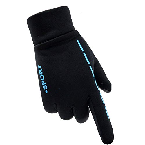 Training Gloves For Women&Men, Letters Printed Motorcycle Snow Ski Warmer Glove Anti-Slip Touchscreen GlovesBlue