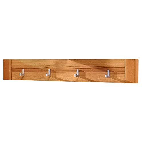Nature Plus Garderobenleiste teil-massiv aus Kernbuchenholz - schöne Haptik & zuverlässige Wandhaken für Schlüssel & Taschen - 90 x 14 x 4 cm (B/H/T)