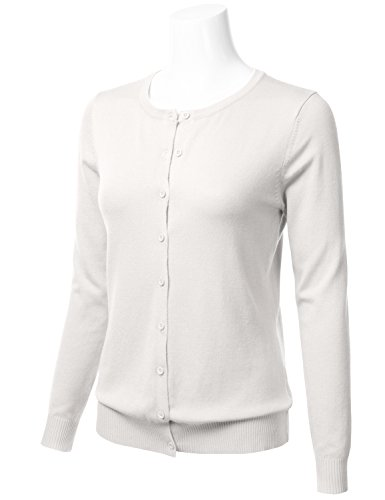 Women's Button Down Crew Neck Long Sleeve Soft Knit Cardigan Sweater Ivory 1XL