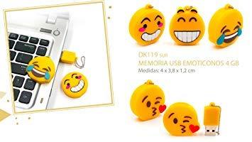 Lote de 10 Vasara Memorias USB Emoticonos 4 GB - Pendrives para Comuniones Personalizados. Detalles para Cumpleaños y Comuniones Originales