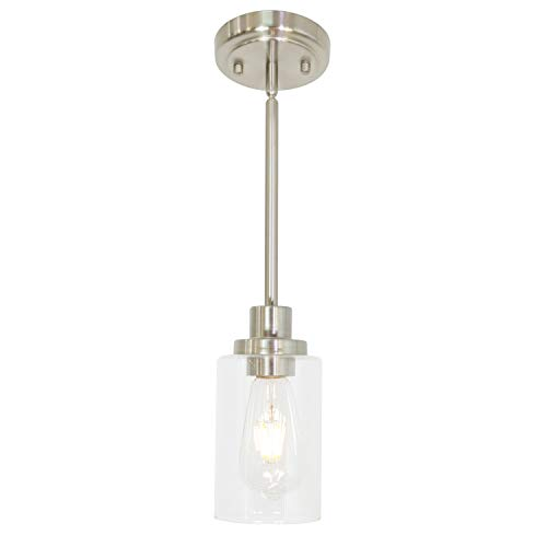 MELUCEE Mini Pendant Lights Brushed Nickel 1-Light with...