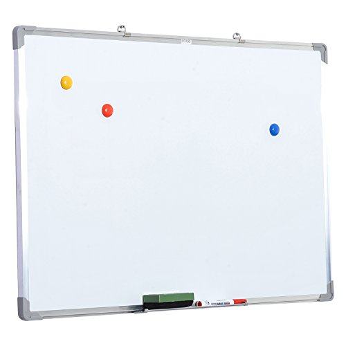 HOMCOM Pizarra magnetica blanca de 60 x 90cm con 10 imanes + 1 borrador + 4 rotuladores