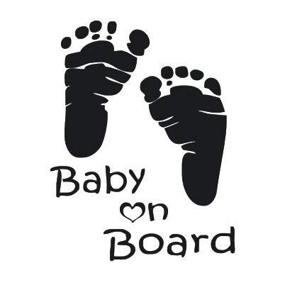 T-JPCT Autocollants côté Voiture Babyonboard Foot Board Autocollant d'empreintes de Pas de bébé babyboard Board Board, Jaune