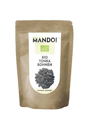 Mandoi BIO Tonkabohne ganz, 10 Stück. Premium BIO Tonkabohnen aus Brasilien. Tonka Bohne Gin Gewürze