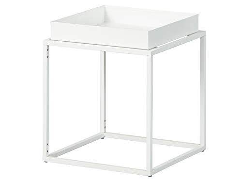 Inter Link Mesa auxiliar de diseño estilo industrial, metal blanco, apta para interior y exterior