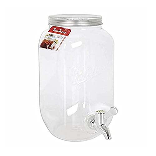 Privilege - Tarro dispensador de bebidas con tapa y grifo de 8 litros. Botella con grifo, garrafa, 32 x 15 cm