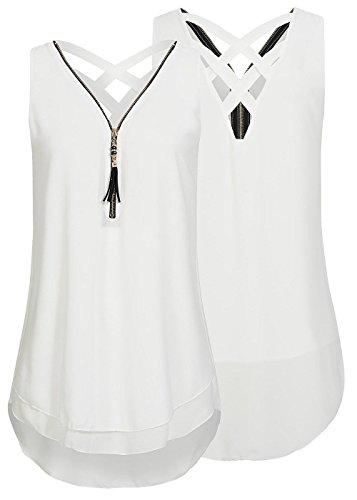 Flying Rabbit Damen Shirt Chiffon Bluse Langarmshirt mit Reißverschluss Vorne V-Ausschnitt Tops T-Shirt, M, Weiß
