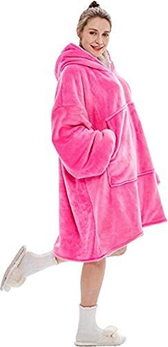 BeKing Huggle Hoodie - Ultra Plush Couverture Sweat à Capuche Hiver Chaud Peignoir Réversible Sweatshirt Unisexe [Taille Unique] pour Accueil/Bureau/Faire des Courses/Camping (Rose)