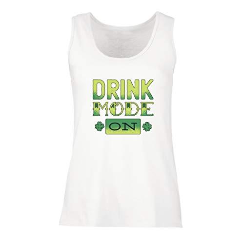 lepni.me Damen Tank-Top Drink Mode On, glückliches irisches Kleeblatt, Party-Outfit zum St. Patrick's Day (Small Weiß Mehrfarben)