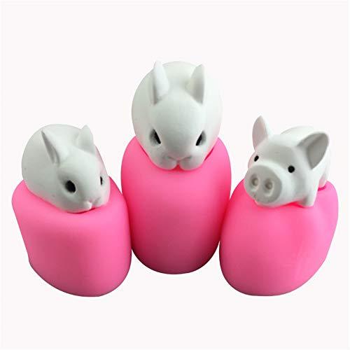 YILANS Bakmatrijzen, konijn varken model siliconen matrijs zeep handgemaakte zeep schimmel pleister decoratieve Spell schimmel ongeparfumeerd, gemakkelijk te reinigen (3 Pack)