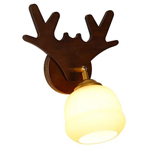 Antler Lámparas de pared ajustables Luz de pared de madera retro Madera interior 360 ° Brazo giratorio Dormitorio Cama Luz de noche Pantalla de vidrio redonda Luz de lectura para niños, para pasillo