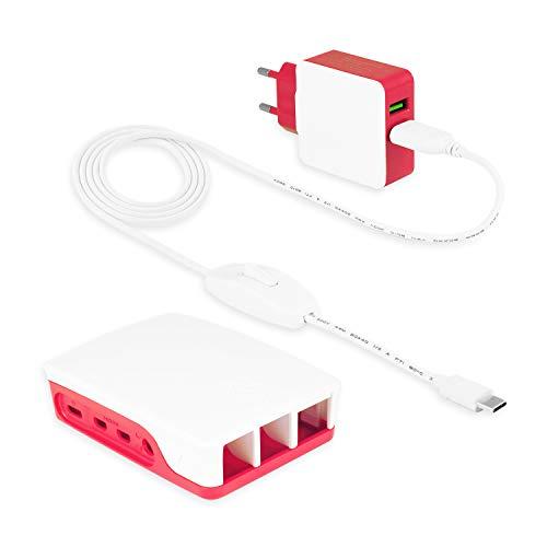 LEICKE Cargador Raspberry pi 4 / Modelo B | Fuente de Alimentación 5V 3A 15W | KSA-15E-051300HE |Con Carcasa Oficial RPI4-CASE-RW 1876751 | 2 Conectores Micro USB, Interruptor ON/Off