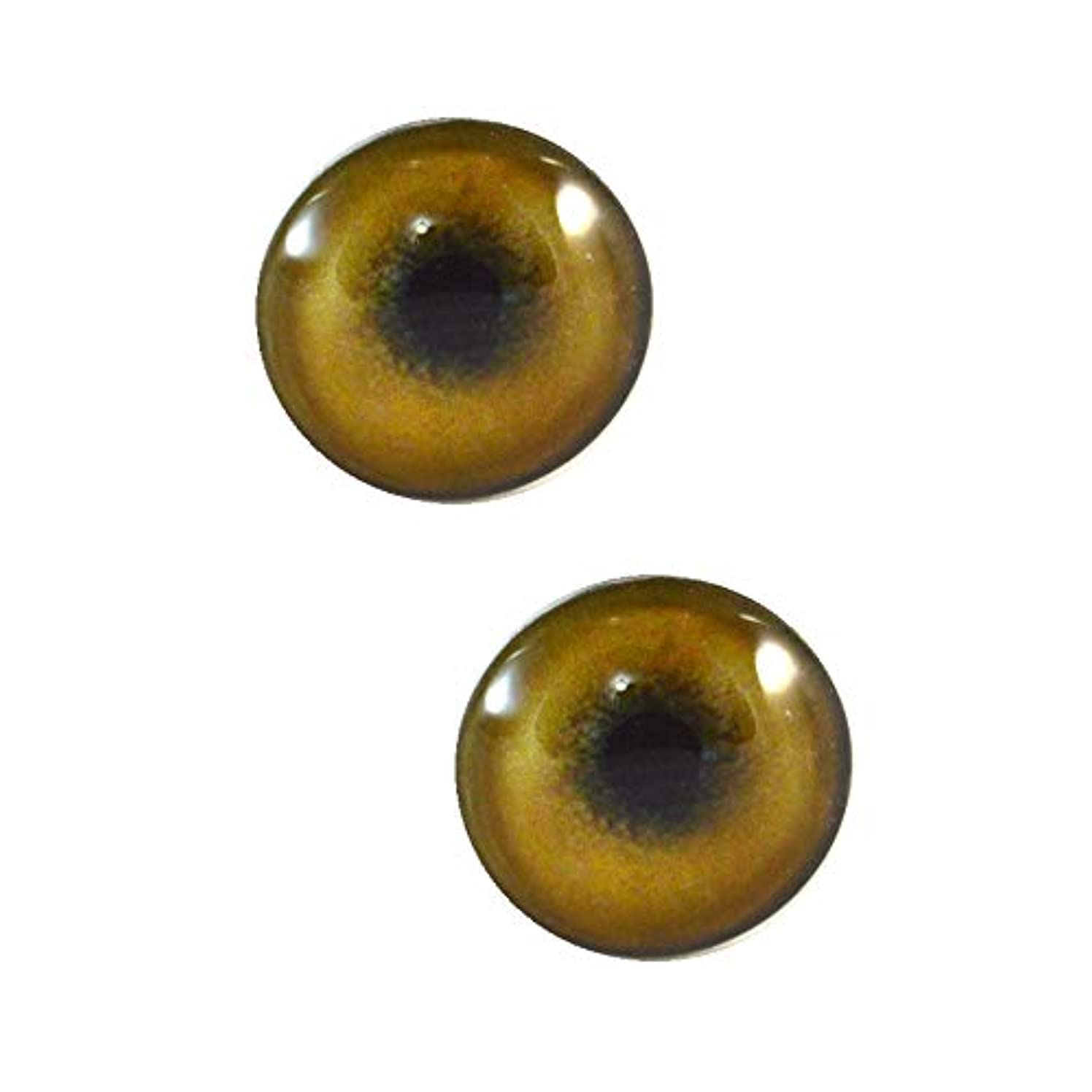 30mm Light Brown Tan Lion Glass Eyes Realistic Pair for Art Dolls, Sculptures, Props, Masks, Fursuits, Jewelry Making, Taxidermy, and More