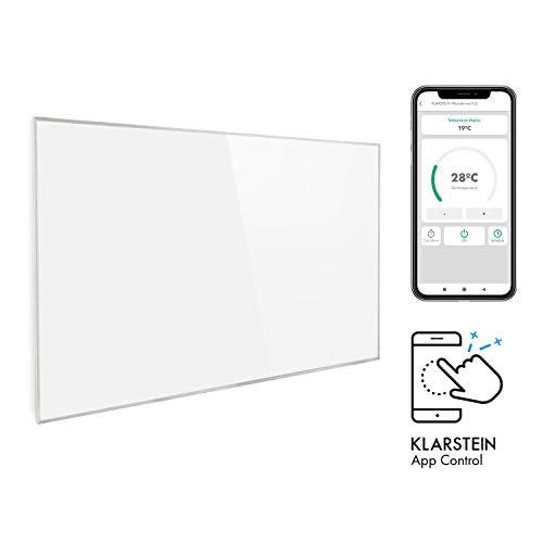 Klarstein Wonderwall Smart - Infrarot-Heizung - Wandheizung, Heizgerät, WiFi, Thermostat, Wochentimer, Abschaltfunktion, Allergiker-geeignet, weiß, 80x120 cm, 960 Watt