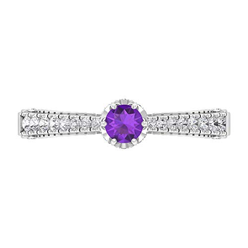 Anillo solitario de amatista de 4 mm, anillo de diamante HI-SI, anillo de compromiso de corte redondo, anillo solitario con piedras laterales, oro de 10 quilates morado