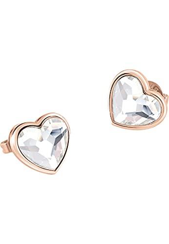 Guess Pendientes de mujer de acero inoxidable con cristales de Swarovski, talla única, oro rosa 32015630