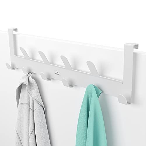 MDCASA Türgarderobe weiß - bis 2cm Türfalz - mit 10 Haken - Kleiderhaken Tür - Handtuchhalter Tür Bad - Türhakenleiste