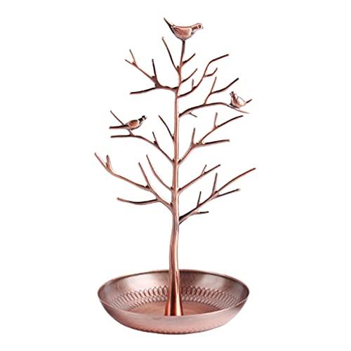 SM SunniMix Soporte de joyería de árbol de pájaros de Metal, Pendiente, Soporte de Collar, Organizador, Estante, Torre, Mesa, árbol, Organizador de - Bronce