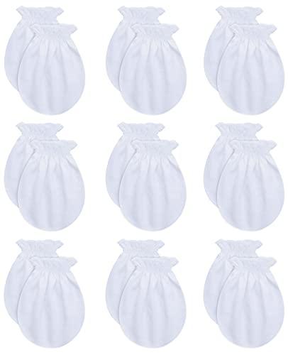 RATIVE Newborn Baby Cotton Gloves No Scratch Mittens For 0-6 Months Boys Girls (Newborn 0-6 Months,9-pairs/white)
