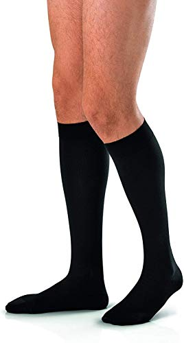 JOBST forMen Knee High 15-20 mmHg Compression Socks, Closed Toe, Large, Black (52200)