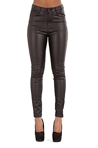 Glook Mujeres Cuero Enjutos Leggins Treggins Cintura Alta Skinny Elásticos Lápiz Jeggings Leggings Cadera De Pantalones