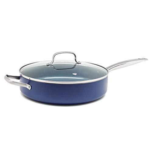 Blue Diamond Servierpfanne Induktion mit Glasdeckel Keramik Beschichtet, Toxinfreies Kochen, Ofen- und Spülmaschinengeeignet - 28 cm, Blau