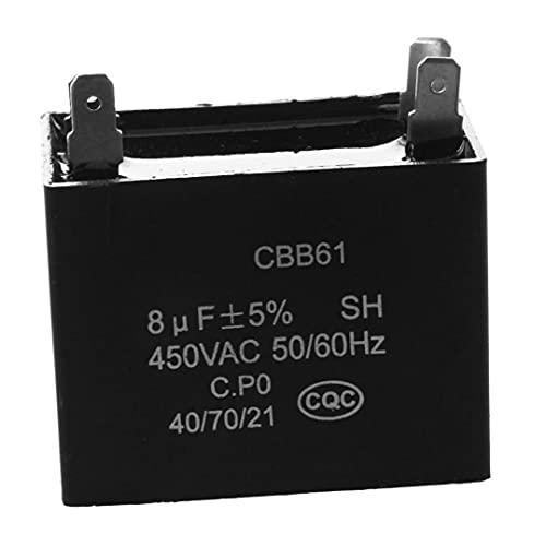 YepYes Mini CBB61 Ventilador de Techo Capacitor Profesional Fan Motor Capacitor 450VAC 8UF 4 Terminales - Negro