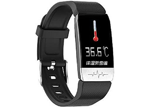 Brazalete Inteligente T1S para El Cuidado de La Salud Brazalete Bluetooth con Medición de Temperatura en Tiempo Real Reloj Inteligente para Monitorizar La Frecuencia