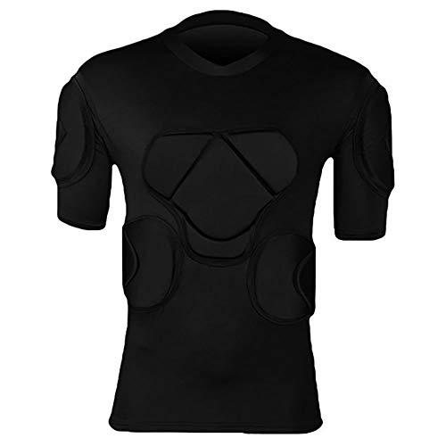 RED SHORE Gepolsterte Fußball-Schutzausrüstung für Männer, Body Safe Compression T-Shirt-Schutzanzug für Fußball-Basketball-Paintball-Rugby-Parkour-Extremübungen(L,Coat)