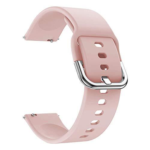 EWENYS Correa deportiva de silicona suave para reloj inteligente, compatible con Samsung Galaxy Watch Active 2 40 mm 44 mm/Garmin Vivoactive 3/Amazfit GTS GTR 42 mm (20 mm, rosa)