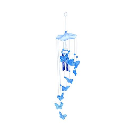 ADDFOO Windspiel Klangroehren Schmetterling Feng Shui Klangspiel Haus Deko, Blau