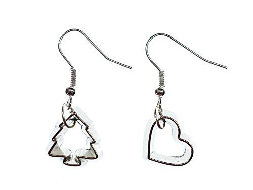 Miniblings Plätzchenausstecher Ohrringe Ausstecher Förmchen Plätzchen Weihnachten Baum Herz - Handmade Modeschmuck I Ohrhänger Ohrschmuck versilbert