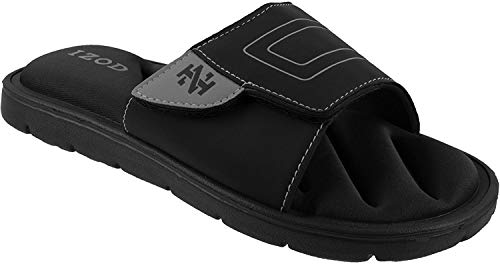 IZOD Men's Stephen Adjustable Sport Slide Sandal with Memory Foam, Black Grey, Large / 9-10