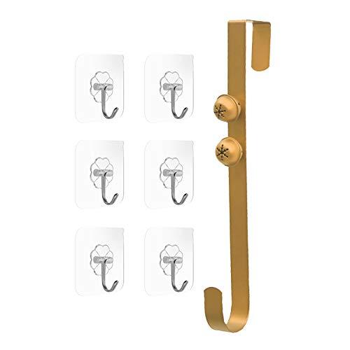 Colgador de puerta para Navidad, colgador de corona de metal de 14.5 pulgadas con campanas sobre los ganchos de la puerta para colgar decoraciones navideñas, con gancho sin costuras de 6 piezas gold